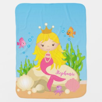Under the Sea Cute Blonde Mermaid Custom Name Baby Blanket
