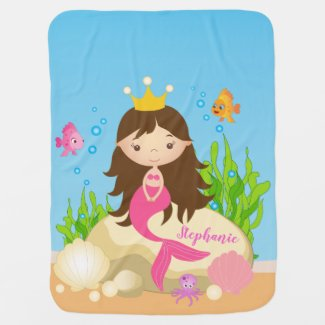 Under the Sea Cute Brunette Mermaid Custom Name Baby Blanket