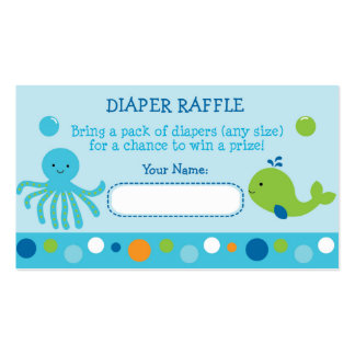 Under the Sea Diaper Raffle Tickets Double-Sided Standard Business Cards (Pack Of 100)
