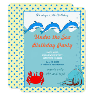Under the Sea Dolphin Octopus Crab Birthday Party Card