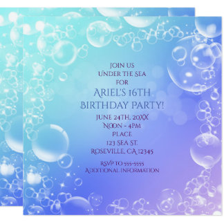 Under the Sea Enchanted Bubbles Party Invitations