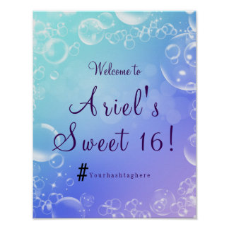Under the Sea Enchanted Bubbles Party Welcome Sign Poster
