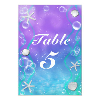 UNDER THE SEA Enchanted Party Table Number Card