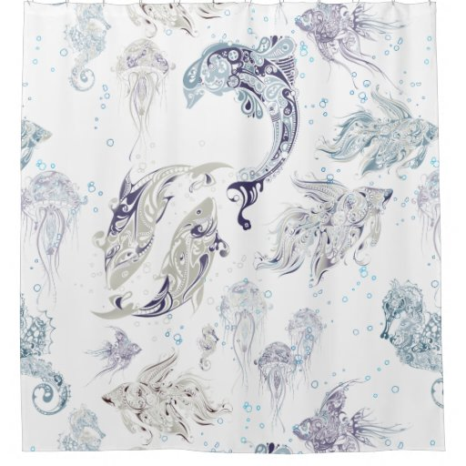 Under the sea fantasy fish shower curtain zazzle for Fantasy shower curtains