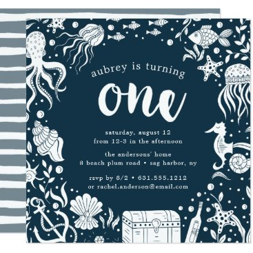 Beach Themed Under the Sea | First Birthday Party Invitation