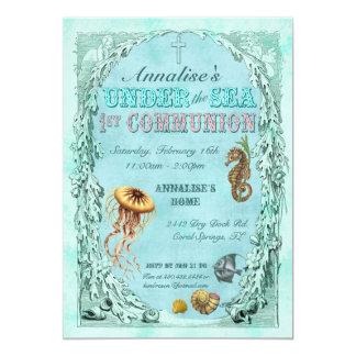 Under the Sea First Communion Invitation - Pink