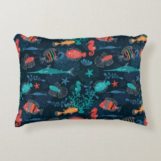 Under The Sea Fish Accent Pillow