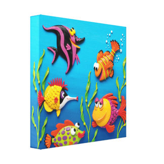 Under the Sea Fish Baby Boy Shower Nursery Canvas Print