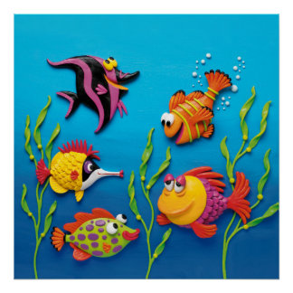 Under the Sea Fish Baby Boy Shower Nursery Poster