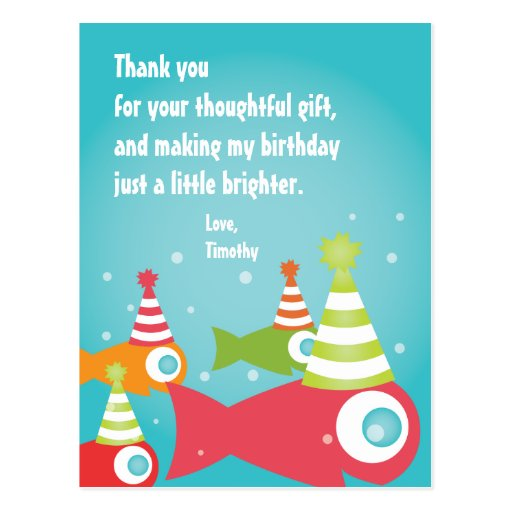 Under The Sea Fish Thank You Post Card Zazzle