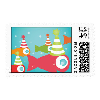 Under the Sea Fishes Birthday Postage Stamp