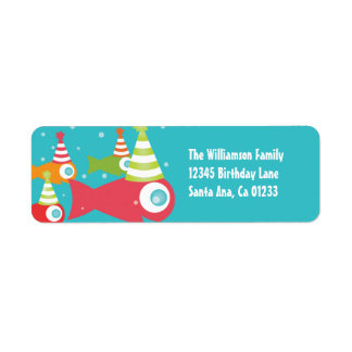 Under the Sea Fishes Birthday Return Address Label