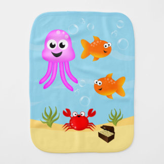 Under The Sea, Fun Characters Burp Cloth