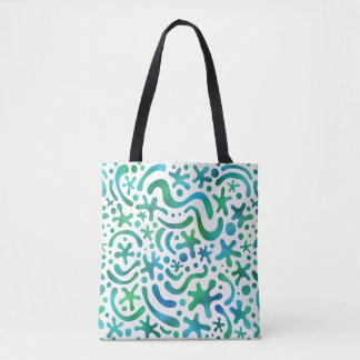 Under the Sea Funky Blob & Squiggle Pattern Tote