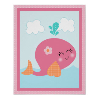 Under the Sea/ Girl /Sealife/Pink Whale Art Poster