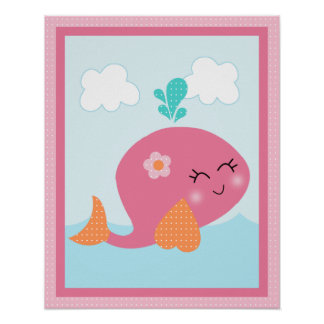 Under the Sea/Girl/Whale/Pink Art Poster