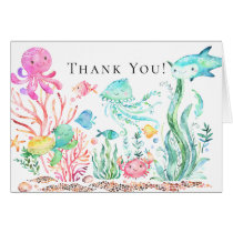Under the Sea Girls Baby Shower Thank You Note Card