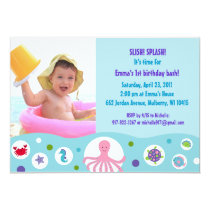 Under the Sea Girls Custom Birthday Invitations