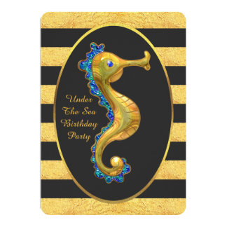 Under The Sea Gold Seahorse Stripes Birthday Party Card