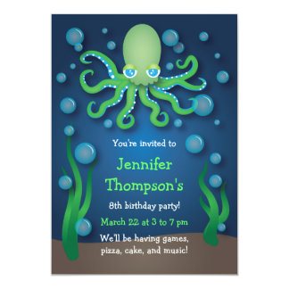 "Under the Sea Green Octopus Birthday Invitations 5"" X 7"" Invitation Card"