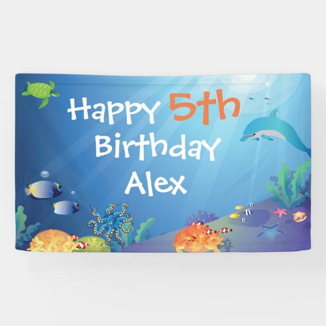 Under the Sea Happy Birthday Kids Banner