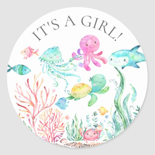 Under the Sea Its a Girl Favor Sticker