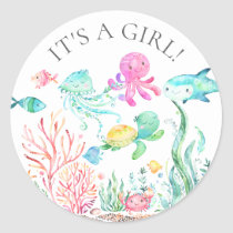 Under the Sea It's a Girl Favor Sticker