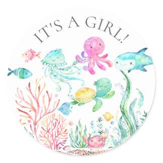 Under the Sea It's a Girl Favor Sticker