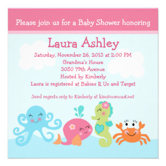 Under the Sea life Girl Baby Shower Invitation