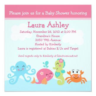 "Under the Sea life/Girl Baby Shower Invitation 5.25"" Square Invitation Card"