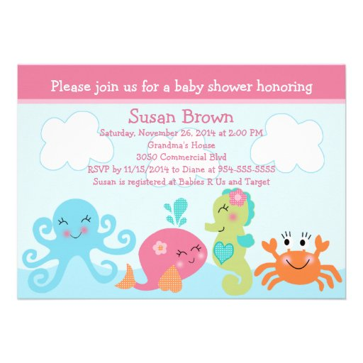 Personalized Pink under the sea Invitations CustomInvitations4Ucom