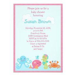 Baby girl shower invitations zazzle under the sea lifegirl baby shower invitation 2 filmwisefo Choice Image