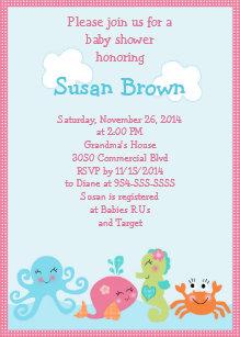 Baby girl shower invitations zazzle under the sea lifegirl baby shower invitation 2 filmwisefo Images