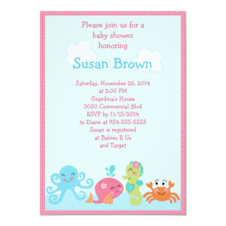 Under the Sea life/Girl Baby Shower Invitation 2