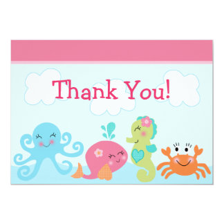 Under the Sea life/Girl Baby Shower Thank You Card
