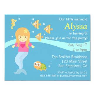 Under the Sea, Little Mermaid Party Invitation Personalized Invites