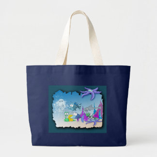 Under the sea magic jelly fish with star fish large tote bag