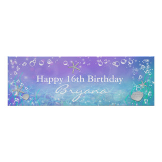 Under the Sea Magical Birthday Party Banner Poster