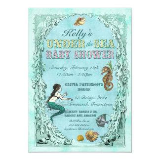 "Under the Sea Mermaid Baby Shower Invitation 5"" X 7"" Invitation Card"