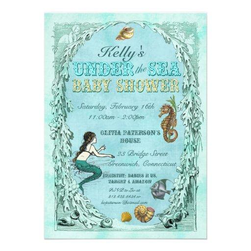 "Under the Sea Mermaid Baby Shower Invitation 5"" X 7"" Invitation Card | Zazzle"