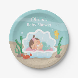 Under the Sea Mermaid Baby Shower Party Supplies Paper Plate