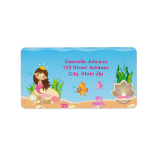 Under the Sea Mermaid Birthday Address Label