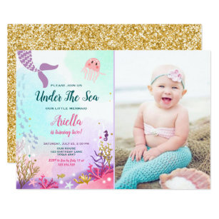Under The Sea Mermaid Birthday Invitation Purple