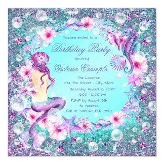 Under the Sea Mermaid Birthday Invitations