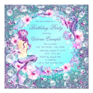 InvitationCentral Under the Sea Mermaid Birthday Invitations