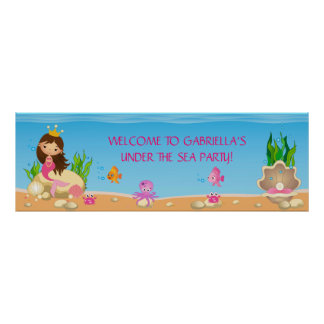 Under the Sea Mermaid Birthday Party Banner Poster