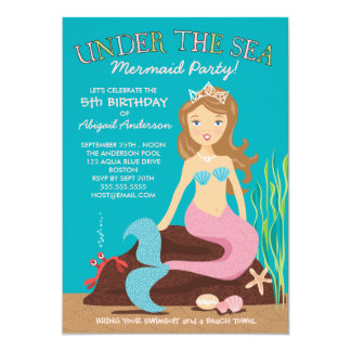"Under the Sea Mermaid Birthday Party Invitation 5"" X 7"" Invitation Card"