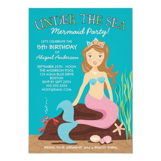 under the sea mermaid birthday party invitation | zazzle,