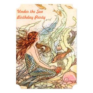 "Under the Sea Mermaid Birthday Party 5"" X 7"" Invitation Card"