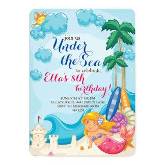 Under the Sea Mermaid Birthday Party Invitations